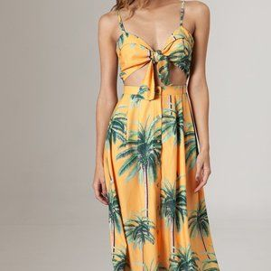 AGUA BENDITA Karen Palm Tree Knot Front Dress, M